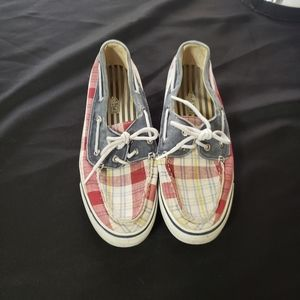 Sperry top sider plaid red white & blue boat shoes